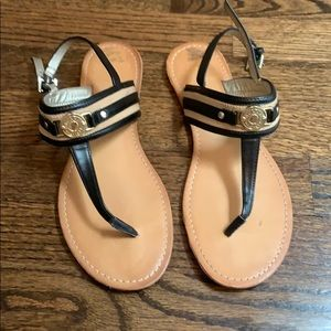 Black and gold ankle strap sandals